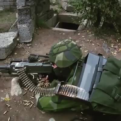 KSP58 with prototype ammo backpack. KSP58 | SAW M240 . The amo backpack is a private prototype . Holds Aprox. 700 rounds join list: Combat (612 subs)Mention Cli