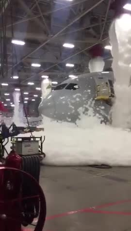 """..boss? we have a problem.."". aircraft hanger fire suppression system got accidentally activated.. HEY MA!! MAAAAAA!!! THE CEILING'S LEAKING CUM AGAIN"