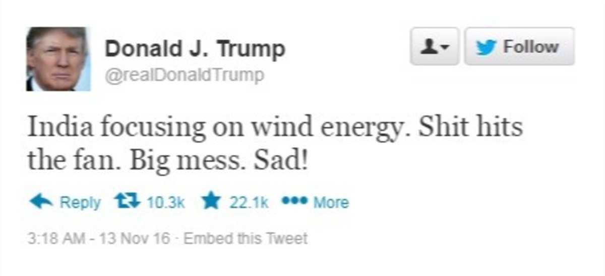 """hits the fan. . Donald J. Thump 1 stiller' Felon India focusing on wind energy. Shit hits the fan. Big mess. Sad! in Reply """" i 3. 13 ! -13 New IE) - Embed was T"""
