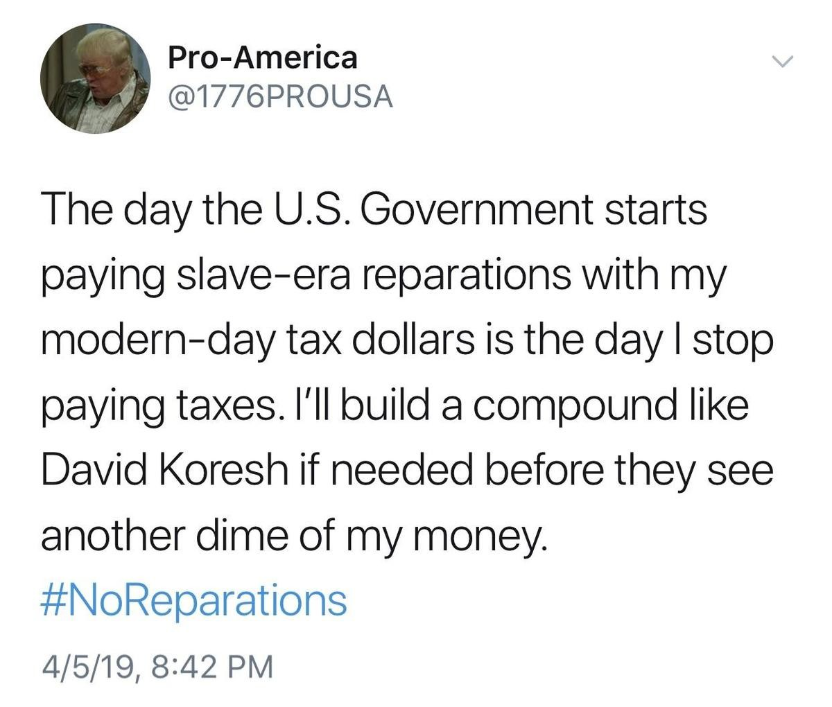 "Reparations. reasonable?.. ""Your ancestors had slaves!"" Well, my ancestors also saw slavery as wrong and freed them. Why do they get to choose which ancestors I want to be like?"