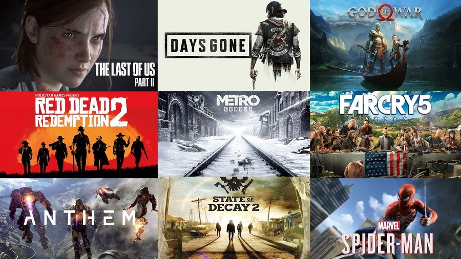 2018 is an odd year. join list: VideoGameHumor (1700 subs)Mention Clicks: 567948Msgs Sent: 5351695Mention History.. Think I'm looking forward to... 3 of those games. The last of us 2, Read dead redemption 2, and Metro exodus. Days gone just looks like an attempt at the last o
