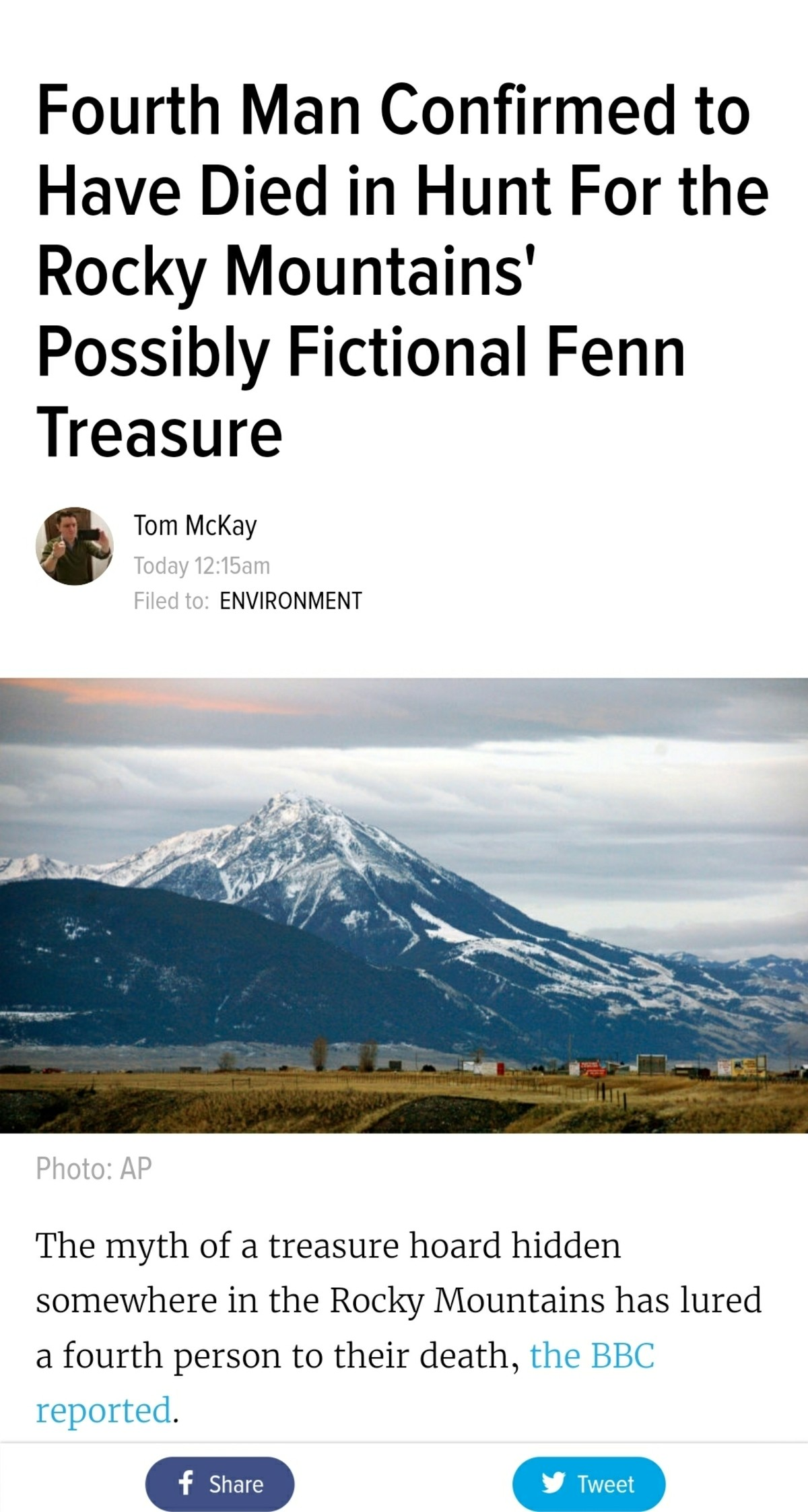 4th Man Dies Seeking Legendary Fenn Treasure. Tide Pods are too low level. This is the real intelligent way to kill yourself. The Fenn Treasure is a treasure re