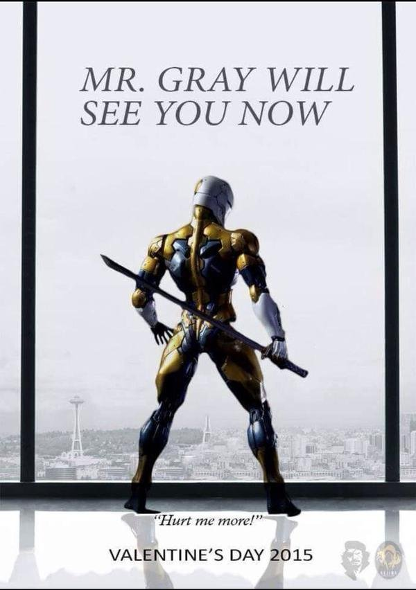 """50 shades of Gray Fox. . MR. GRAY WILL VALENTINE' S DAY 2015. """"That's it, Snake. Hurt me more. Make me feel alive again."""""""