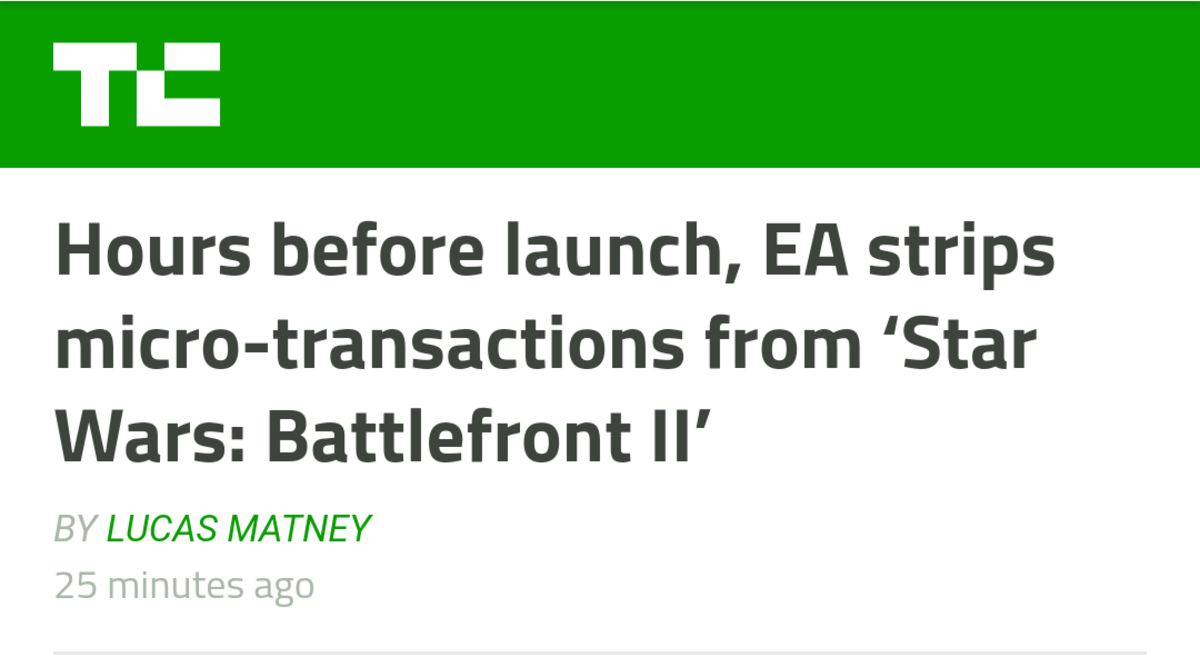 A minor victory. https://techcrunch.com/2017/11/16/hours-before-launch-ea-strips-micro-transactions-from-star-wars-battlefront-ii/. Hours before launch, EA stri