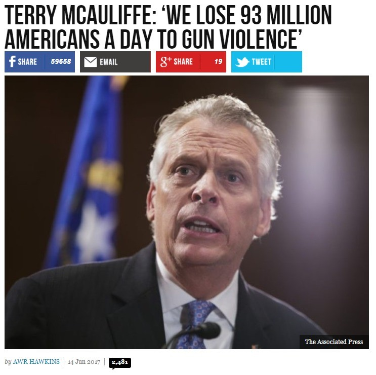 A moment of silence. Had it been Donald Trump, it would have been everywhere by now.. TERRY 'WE LOSE 93 MILLION AMERICANS A DAY TO GUN VIOLENCE' airair. first it was 1 scoop. Then 2... NOW IT'S 93 MILLION SCOOPS A DAY