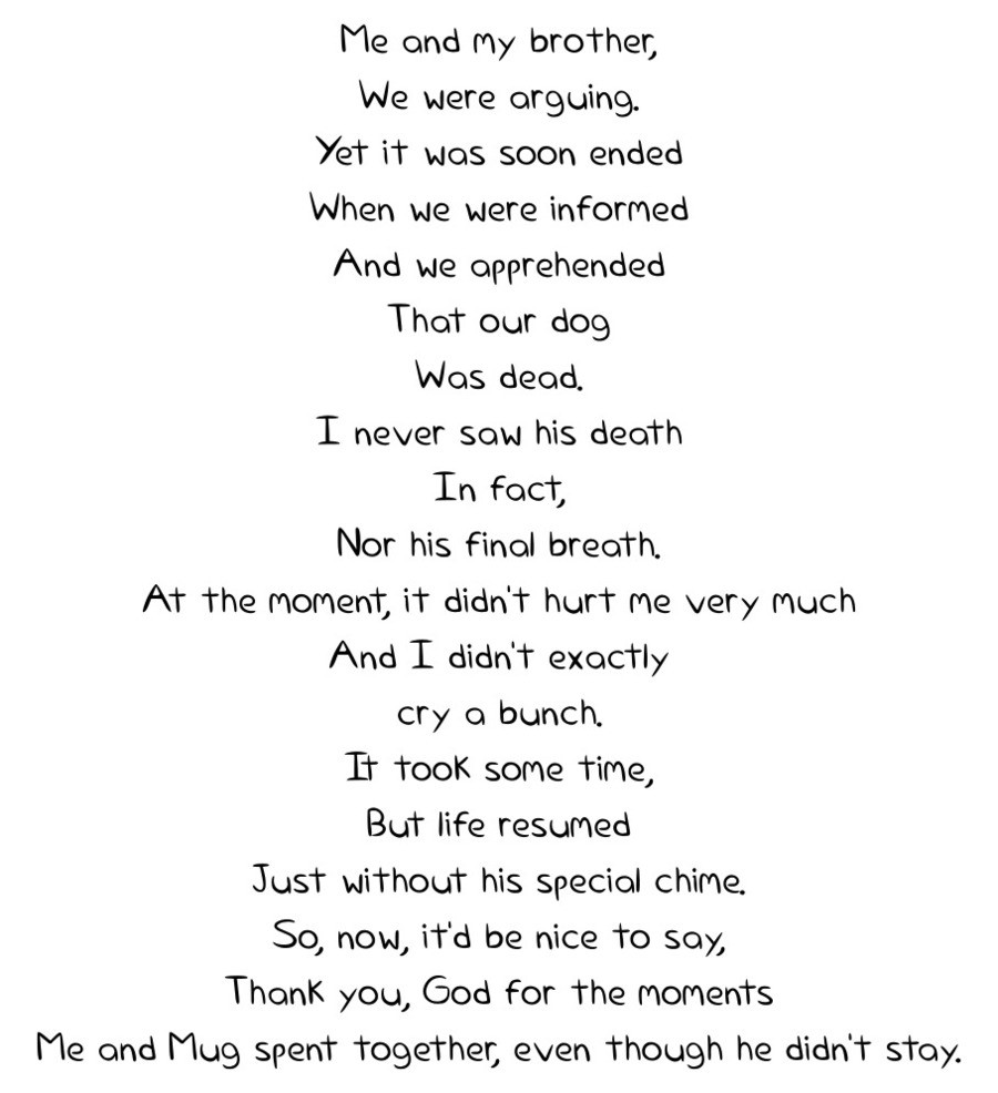 A Poem. Mug was my family's dog.. t'' aia and my brother, bhat were ongoing. it was soon ended when we were informed And we apprehended That our dog Nos dead. I