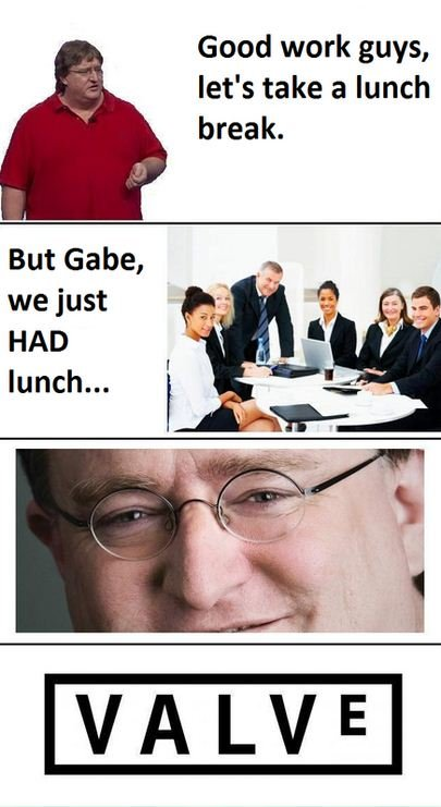 A Typical Day at Valve. This is why Half Life Episode 3 hasn't come out.. Good work guys, let' s take a lunch break. But Gabe, we just HAD lunch,..