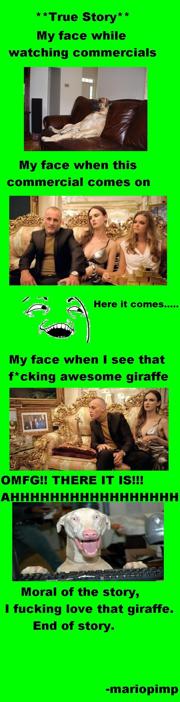 A Minute in the Life of Me. . True Story My face while watching commercials My face when this commercial comes on My face when I see that f cking awesome giraff