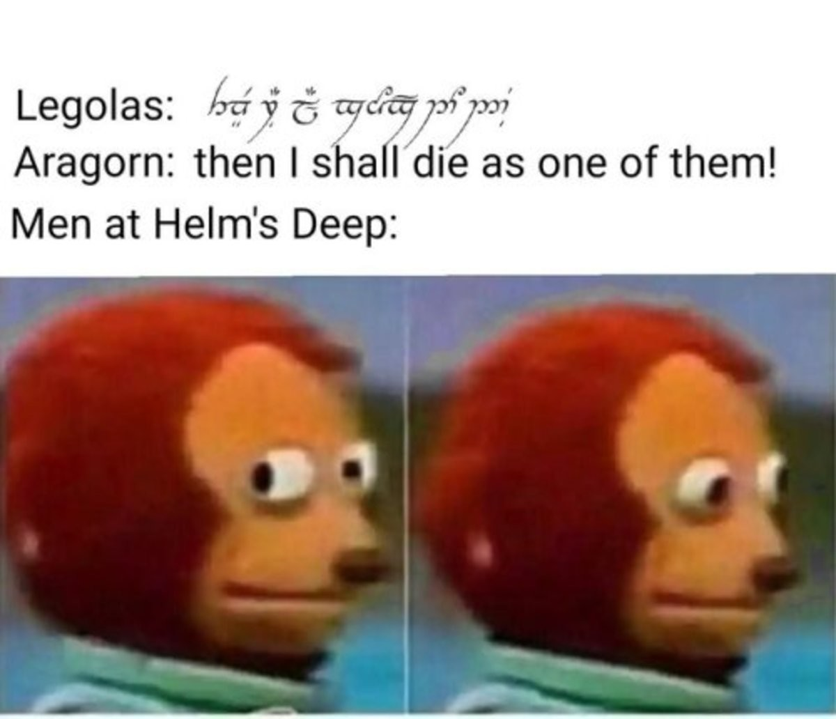absurd flippant Ostrich. .. Every soldier there already knew what their chances were, which is why Legolas commented on how miserable they looked just before that line.