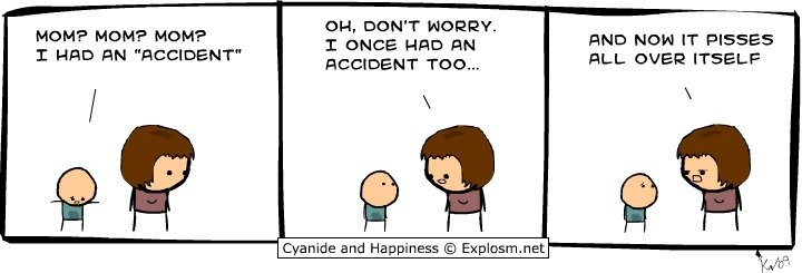 Accident. Thumb. MOMA MOMA MOMA T , 45; Han MN AND HUN IT ': 5 Cyanide and Happiness © . net