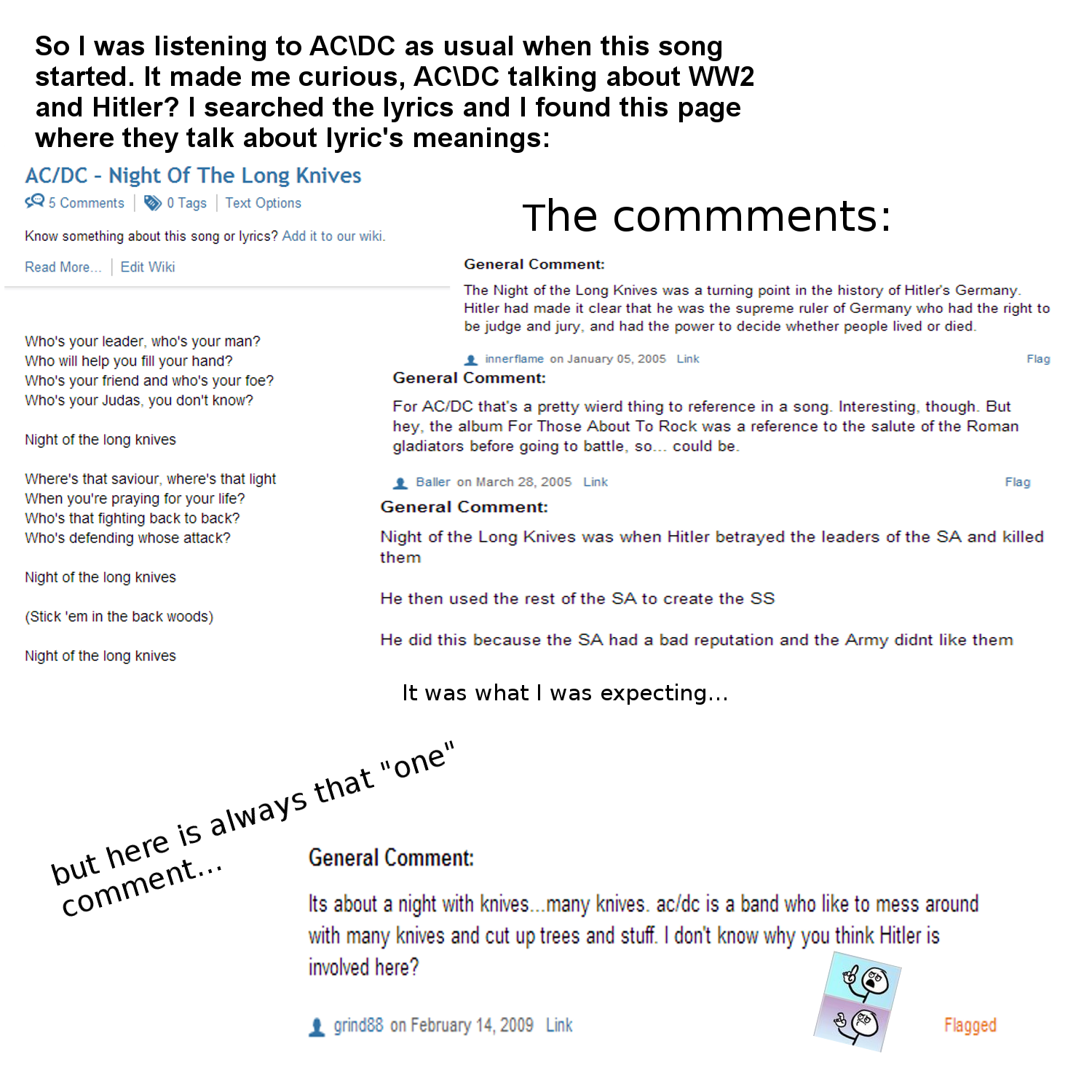 AC\DC vs. . Here is a link to that page: And to the song! . So I was listening to AC\ DC as usual when this song started. It made me curious, AC\ DC talking abo