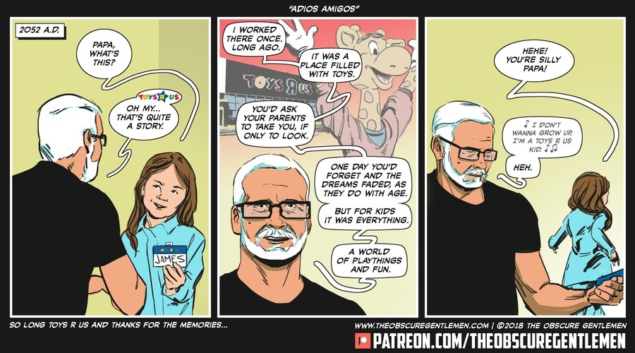 Adios Amigos. For more of our comics: .. Funny even the comic strip hints to why the place went under. > If only to look... If it were to buy they wouldn't be having problems. Crying over a place th