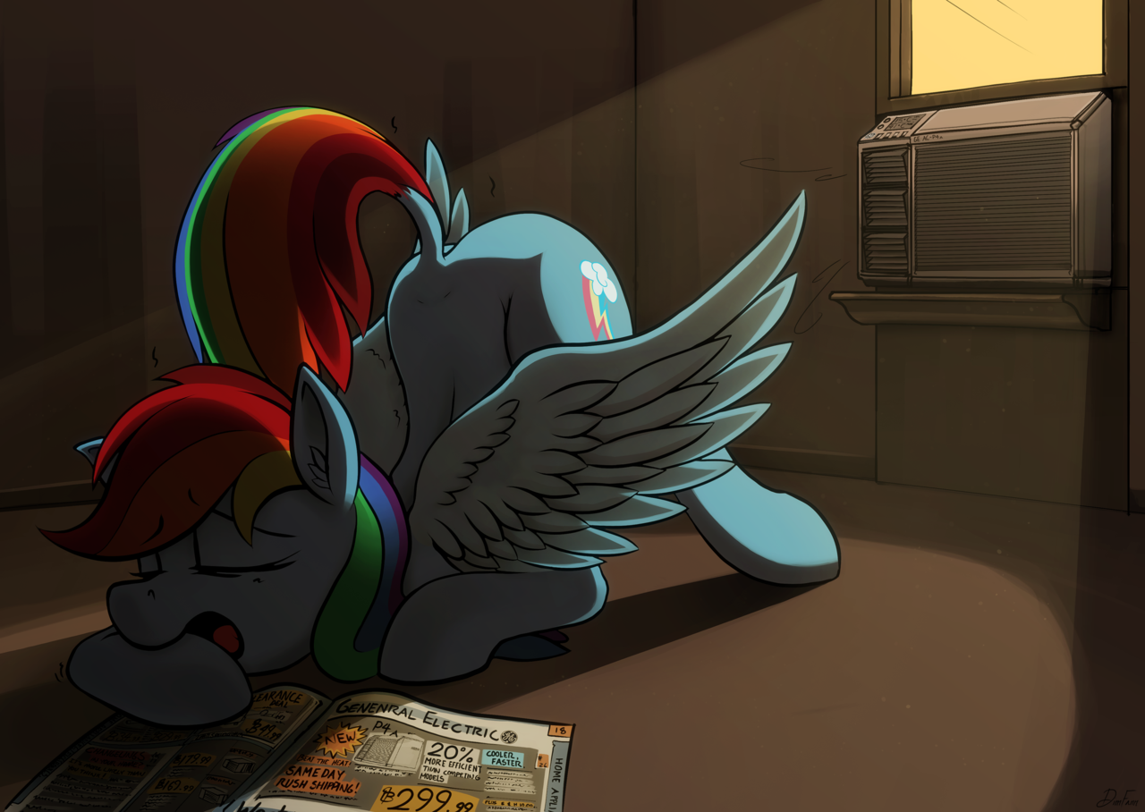 Admit it, you've done this at least once. http://1trickpone.deviantart.com/art/Beat-the-Heat-455587001 I have, but nowhere near a window... If she wanted to be cool in hot weather, why didn't she just fly?
