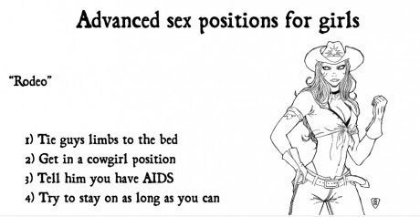 "advanced sex positions. . Advanced Stilt positions for girls. For men: 1. Mount her from behind. 2. Take hold of her hair. 3. Whisper in her ear ""you're better than your sister."" 4. Hold on as long as you can."