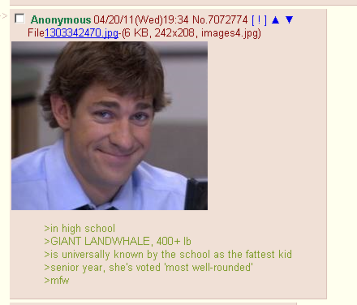 agonizing flippant Mongoose. join list: DailyGreentext (264 subs)Mention Clicks: 6856Msgs Sent: 20781Mention History.. I remember this girl back in highschool who had all her fat down in her thighs and stomach, there was no fat anywhere else. her lower body looked like a disk, a