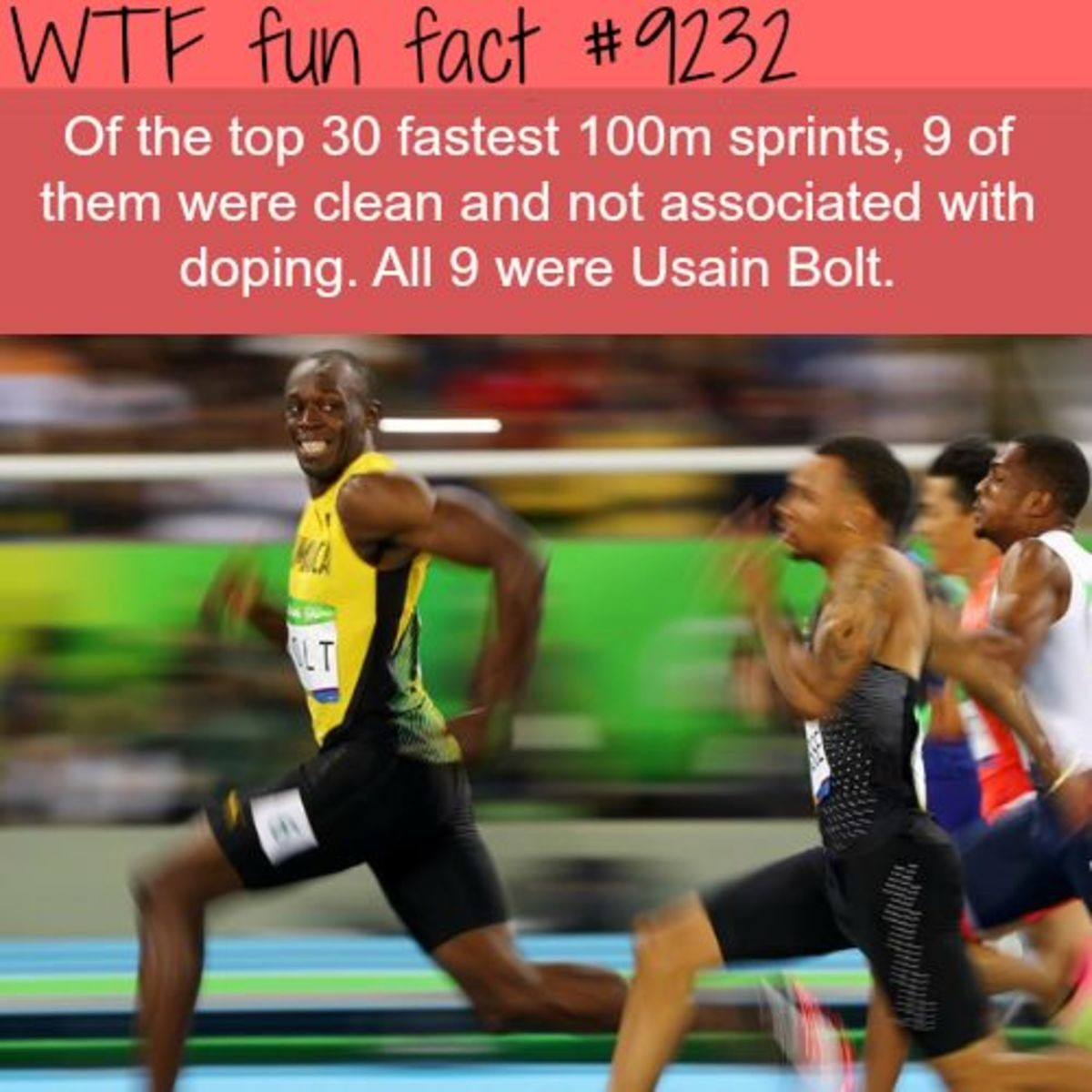 All The Fastest Men In History Are Usain Bolt. .. How do we know he doesn't have Eldritch tier doping procedures science doesn't know about?