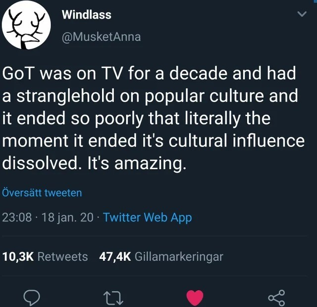 amazing. .. That's what happens when you on every single character that drew people in in the first place. Jamie, Jon, and Brienne got it the worst imo.
