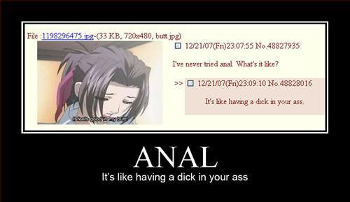 Anal. wats it like?. . In bk: having a dick. Niiga an It' s like having ii? dick in your ass. LOL DUDE I WAS THE DUDE WHO REPLIED TO THAT XD