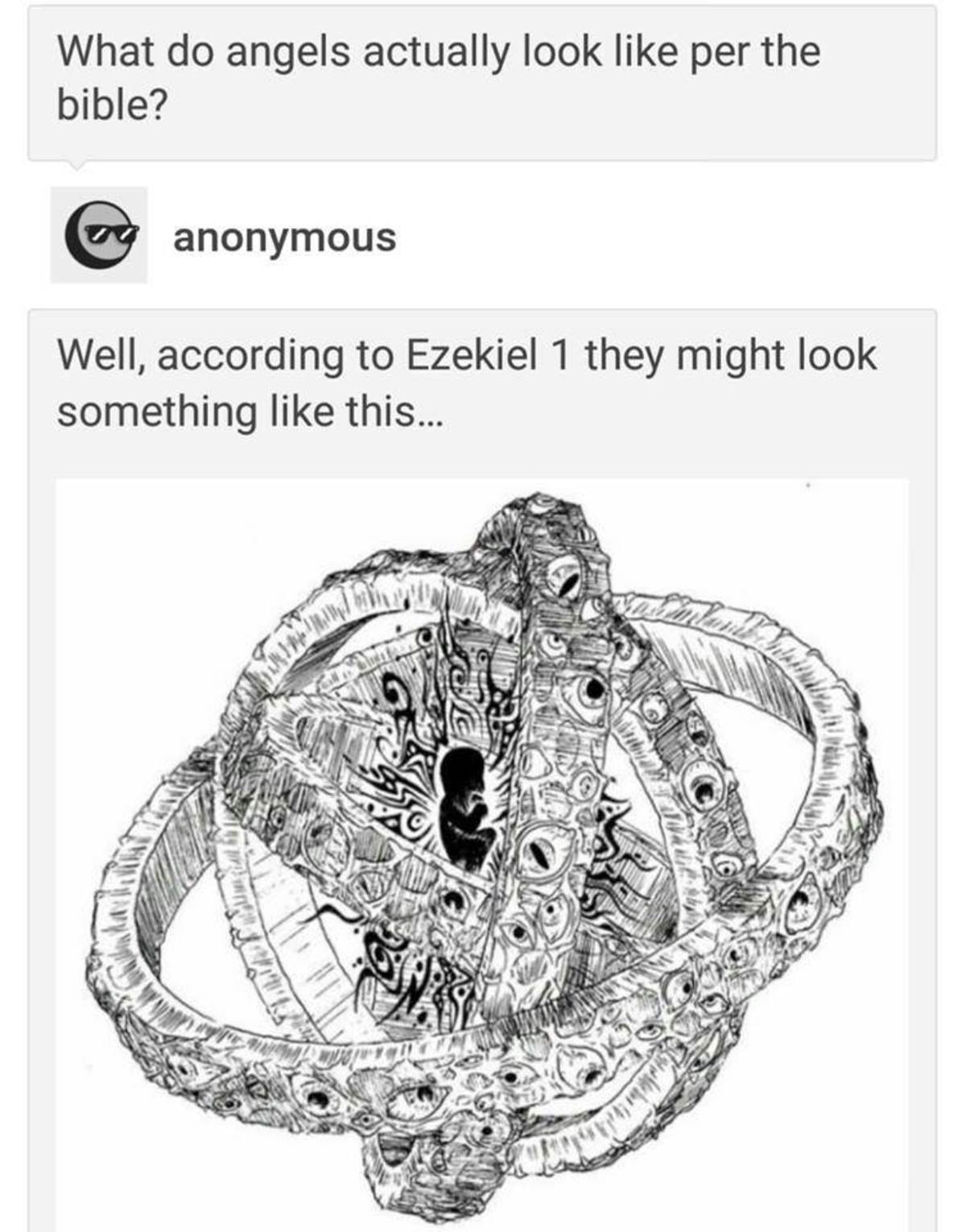 angels. . What do angels actually look like per the bible'? loller anonymous Well, according to Ezekiel 1 they might look something like this...According to Dan