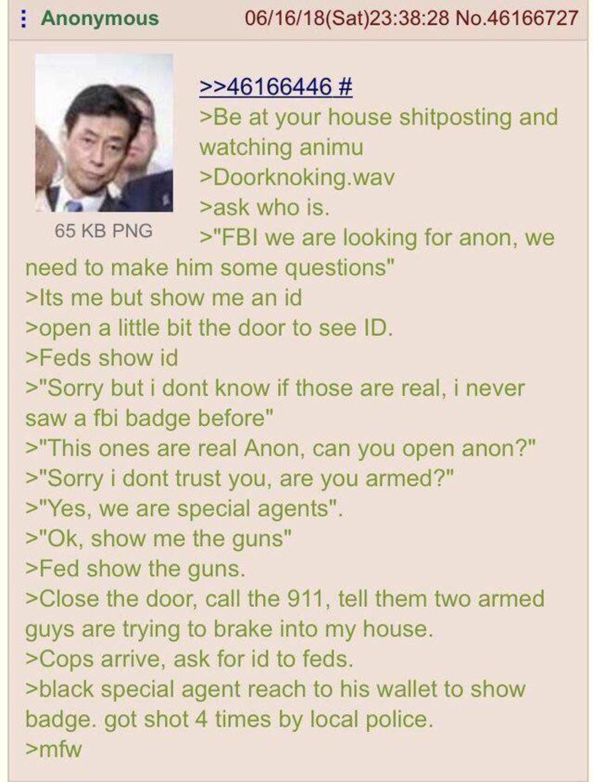 Anon gets a visit from the FBI. ..