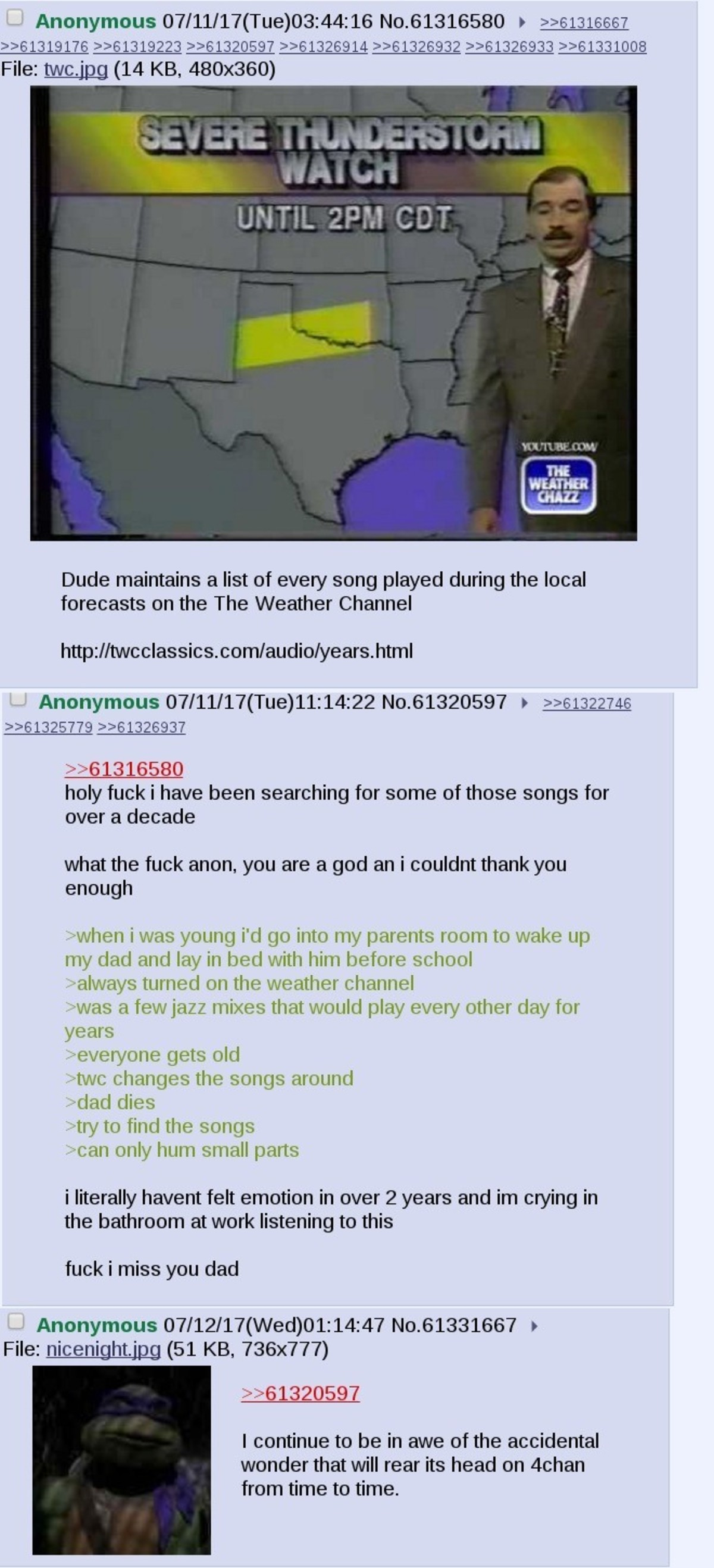 Anon gets feels from the weather channel. join list: Chanoholic (315 subs)Mention History.. Link here:
