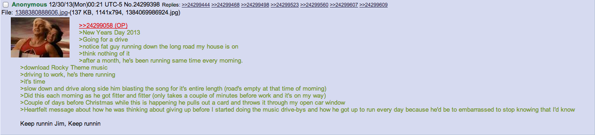Anon goes for a drive. join list: Chanoholic (310 subs)Mention History.. I run around my neighborhood at either 5:30 am or 7:30 pm depending on school schedule and stuff. Nothing keeps you on pace like avoiding a person outside at th