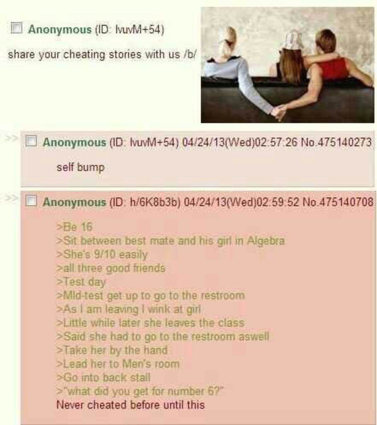 Anon is a Cheater. .. God damn, you know an image is old when it's crustier than a redditards foot fungus