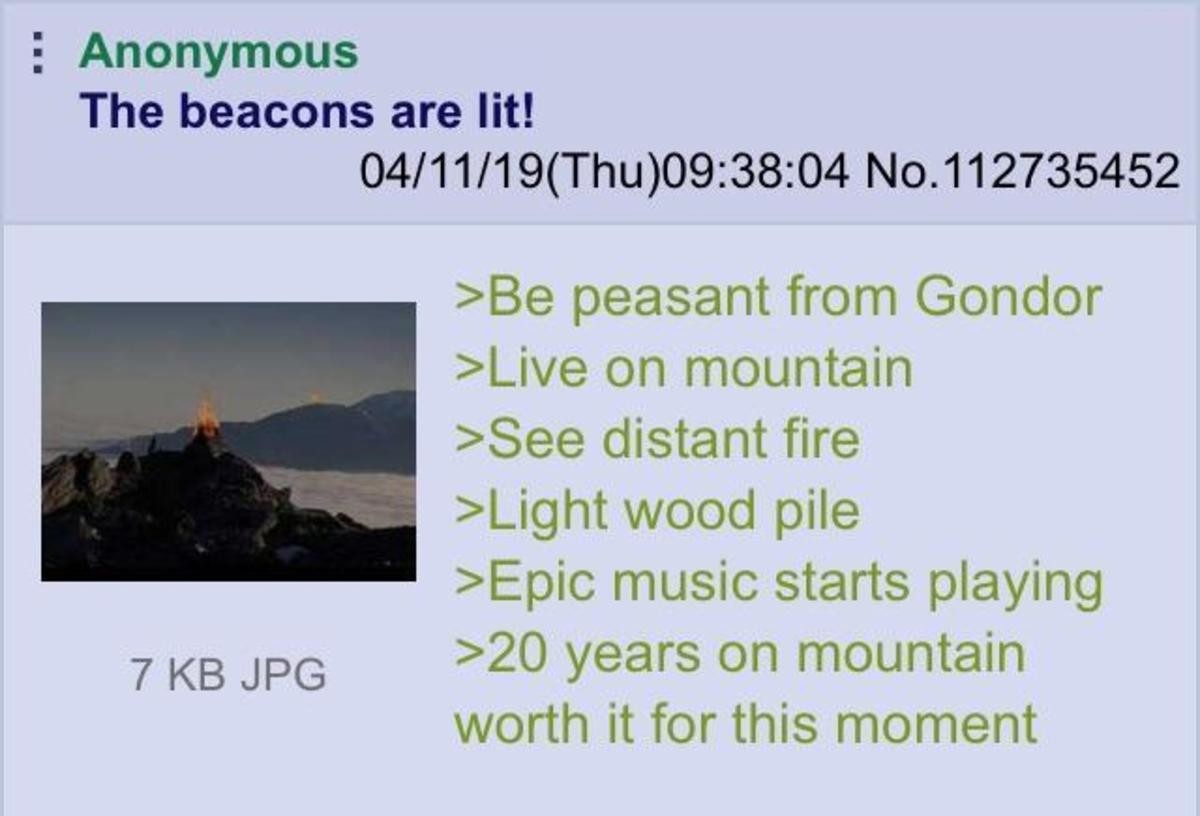 Anon lights the beacon. .. I thought those were soldiers who were rotated in and out fairly often
