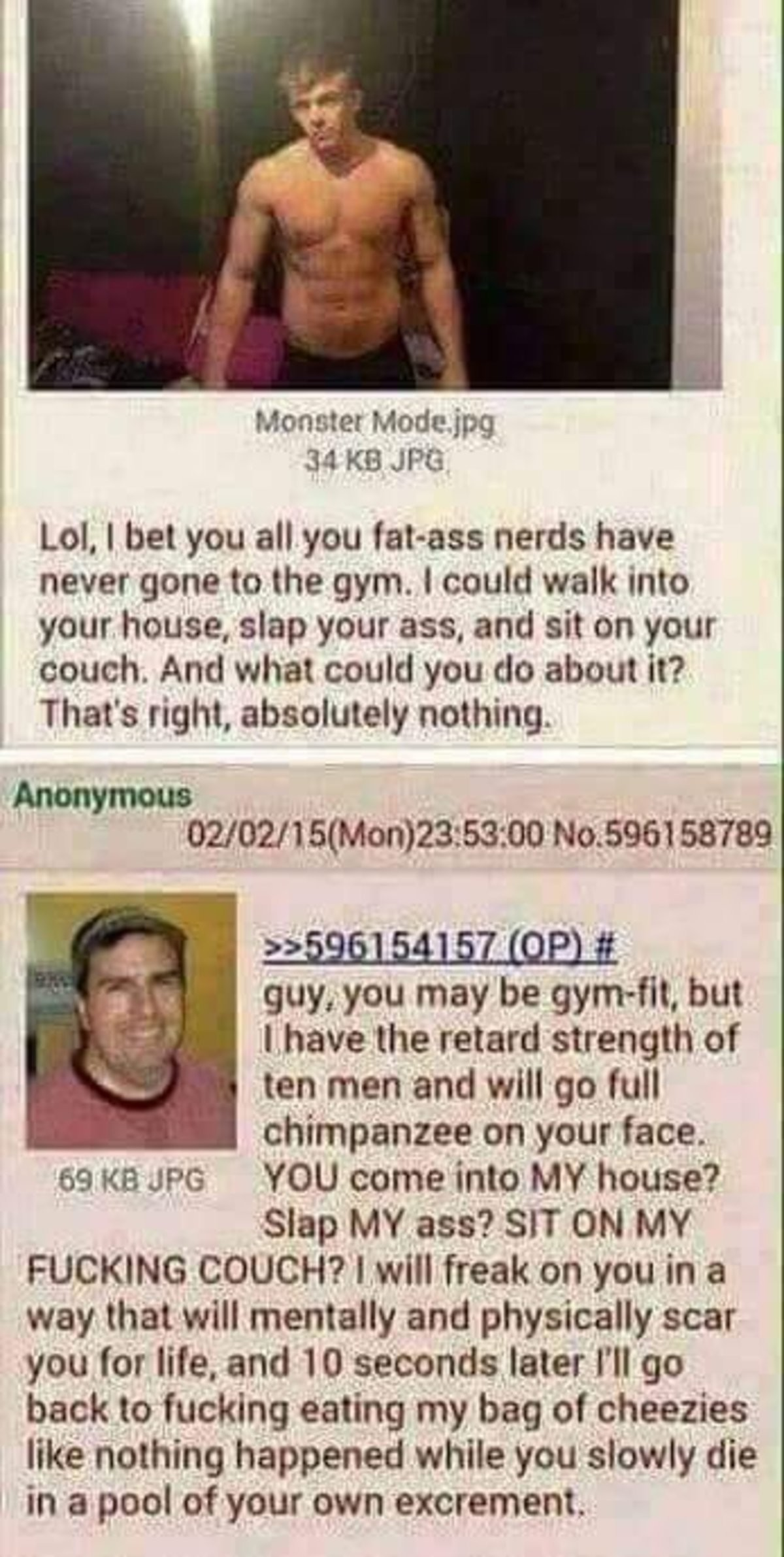 Anon vs. Chad. .. Gyms are for poor people and or people that don't mind being around other people. Much rather stay at home and hurt myself curling than doing it at a gym