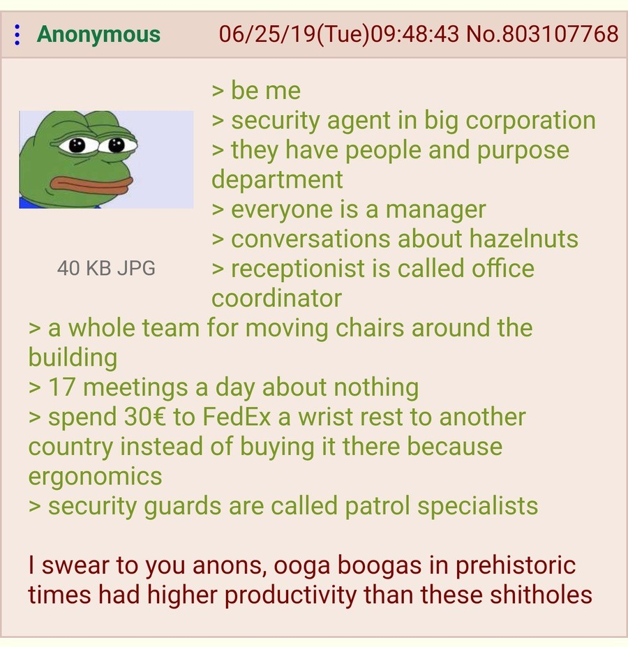 Anon works for a Corporation. .. Yup. Worked for a big corporation for a few weeks, after that I quit because it was so intellectually stifling. Loads of meetings every day, the conclusion of e