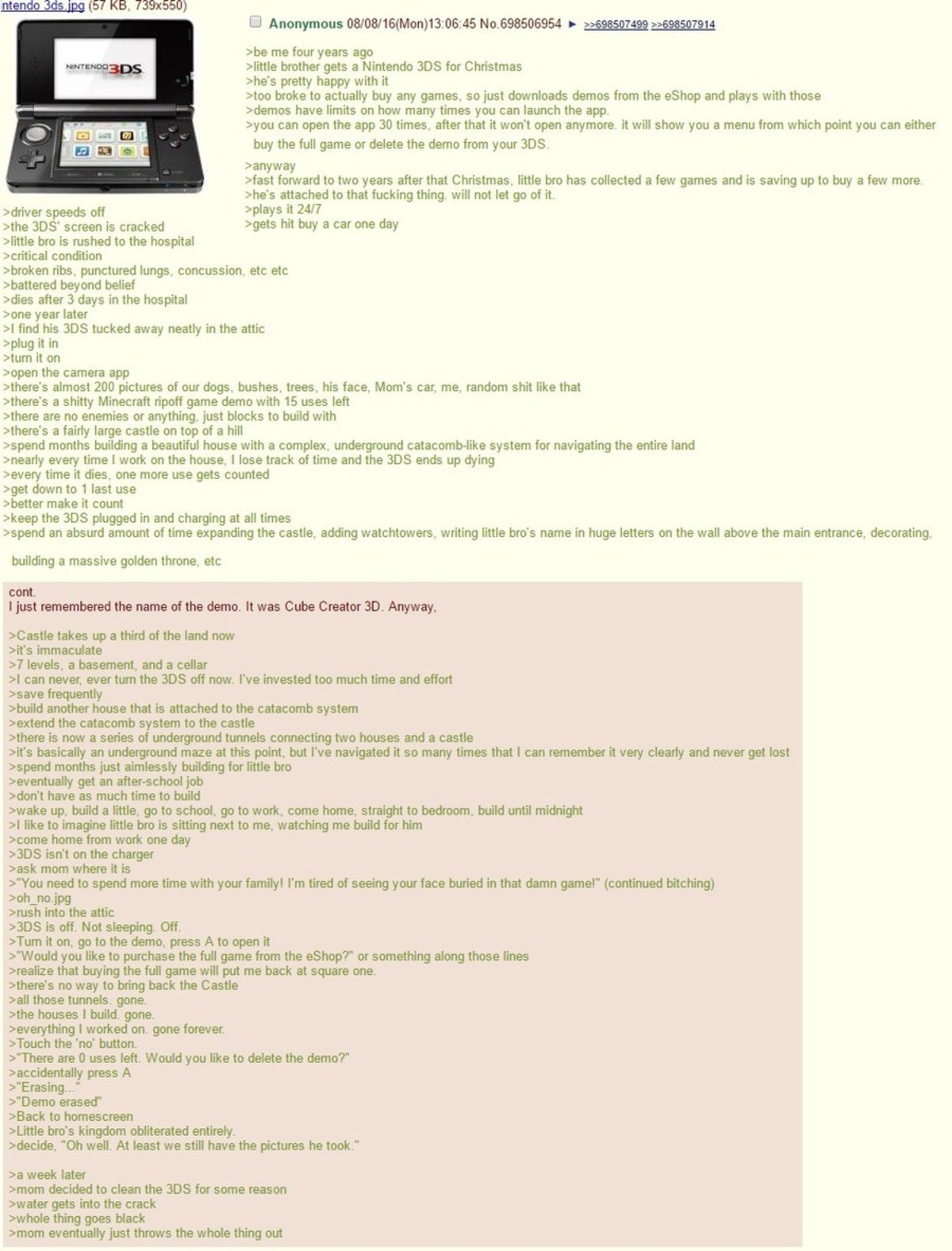 Anon's bro gets a 3DS. join list: Chanoholic (310 subs)Mention History. are me four years ago aims brother gets a Nintendo DDS for Christmas alias pretty happy