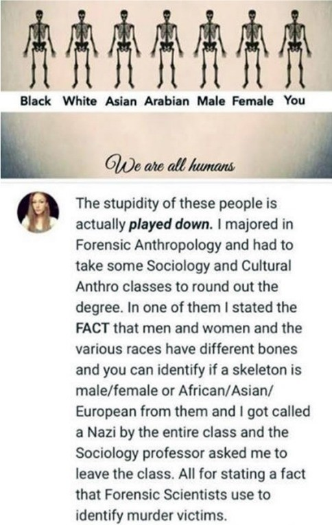 Anthropology is . .. Hold on now. It's definitely true. Different gender and race have visible difference in skeletal structures. Forensics use this to determine the race of decayed