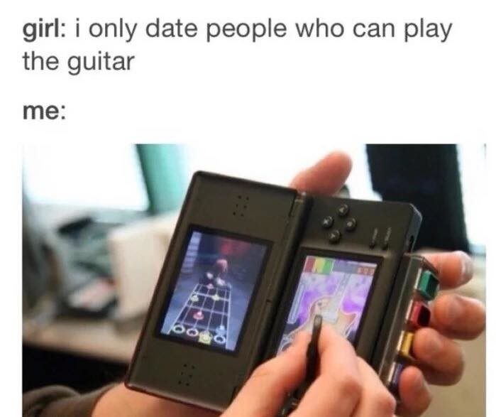Anyway here's wonderwall. . girl: i only date people who can play the guitar. the XL was my first DS. and I cant fathom how people use those little screens. Sure I was happy with my gameboy since I could use thumbs, but still.