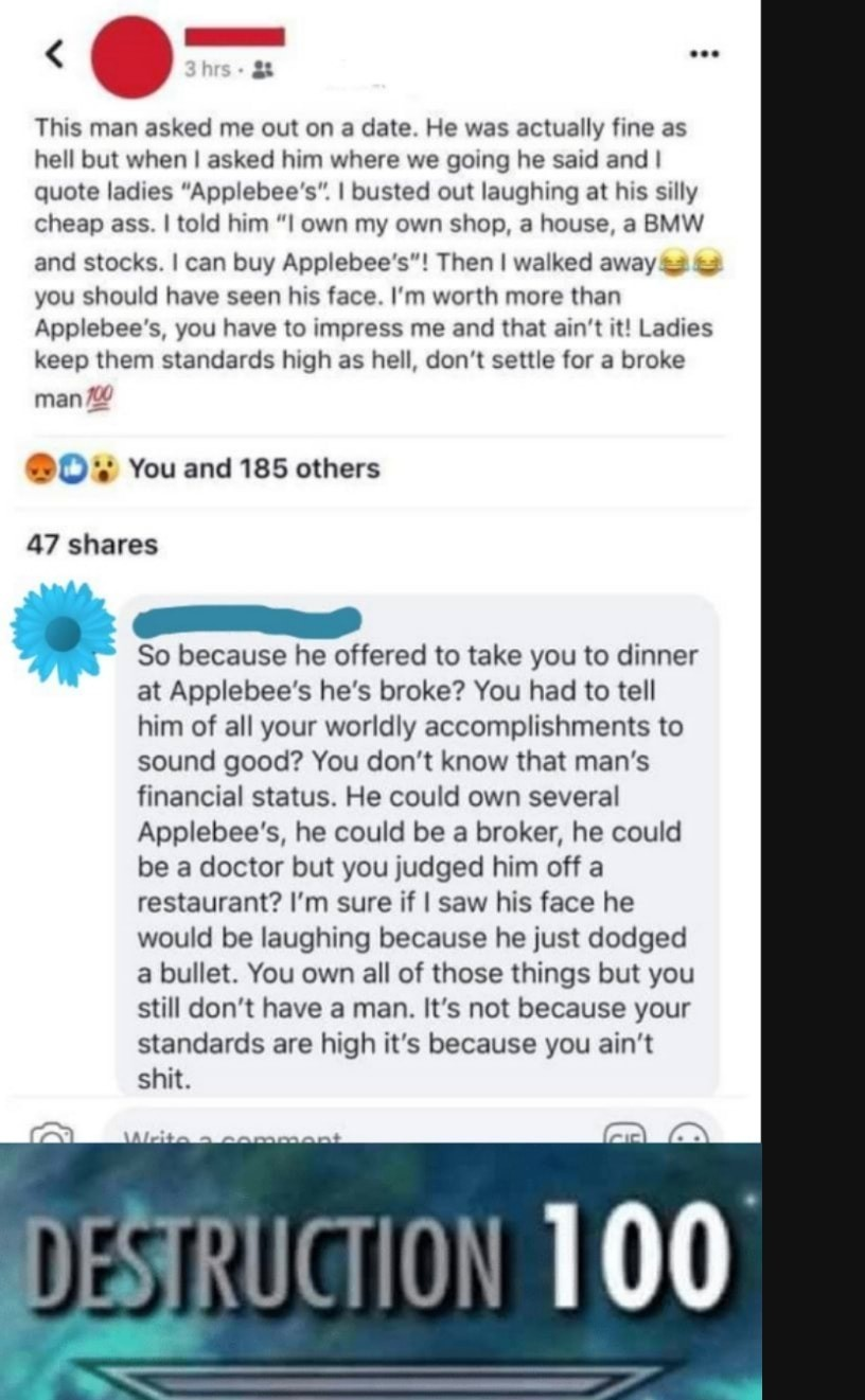 apple bees. .. Translation: I rent an apartment I run my (failing) business out of, lease a base model BMW and have a 401k from a company I haven't been with for years