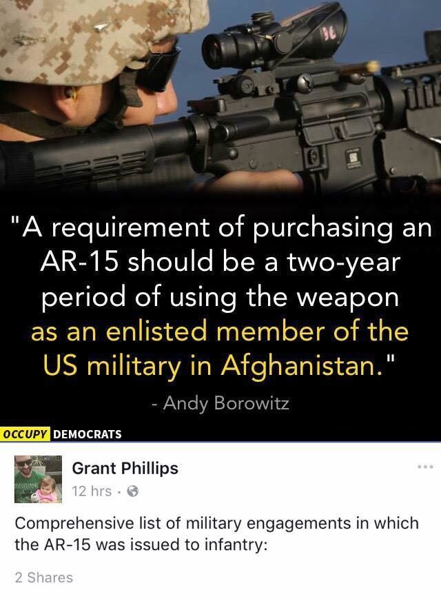 """AR-15 ≠ M-16. . A requirement of purchasing an JIMIS should be a period of using the weapon as an enlisted member of the US military in Afghanistan."""" DECEPT' DE"""