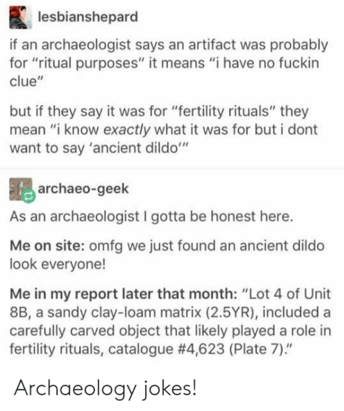 Archeology. .. My history teacher in high school used to be a archaeologist, he told us it's the worst job you could possibly have, and it doesn't pay jack But sometimes he'd