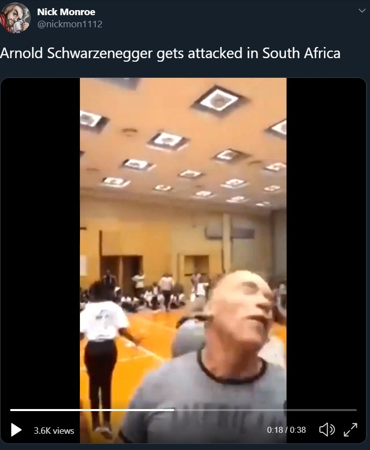 Arnold Schwarzenegger gets attacked in South Africa. Skip to 0:53.. The other angles of this attack show Arnold barely even freakin budged. He's 71 goshdarned years old and he took a drop kick to the back without taking damage.