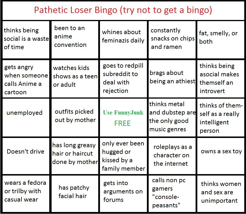 :arrogant:. You're all winners in my book. Pathetic Loser Bingo (try not to get a bingo) thinks being been to an whines about constantly fat smelly or social is