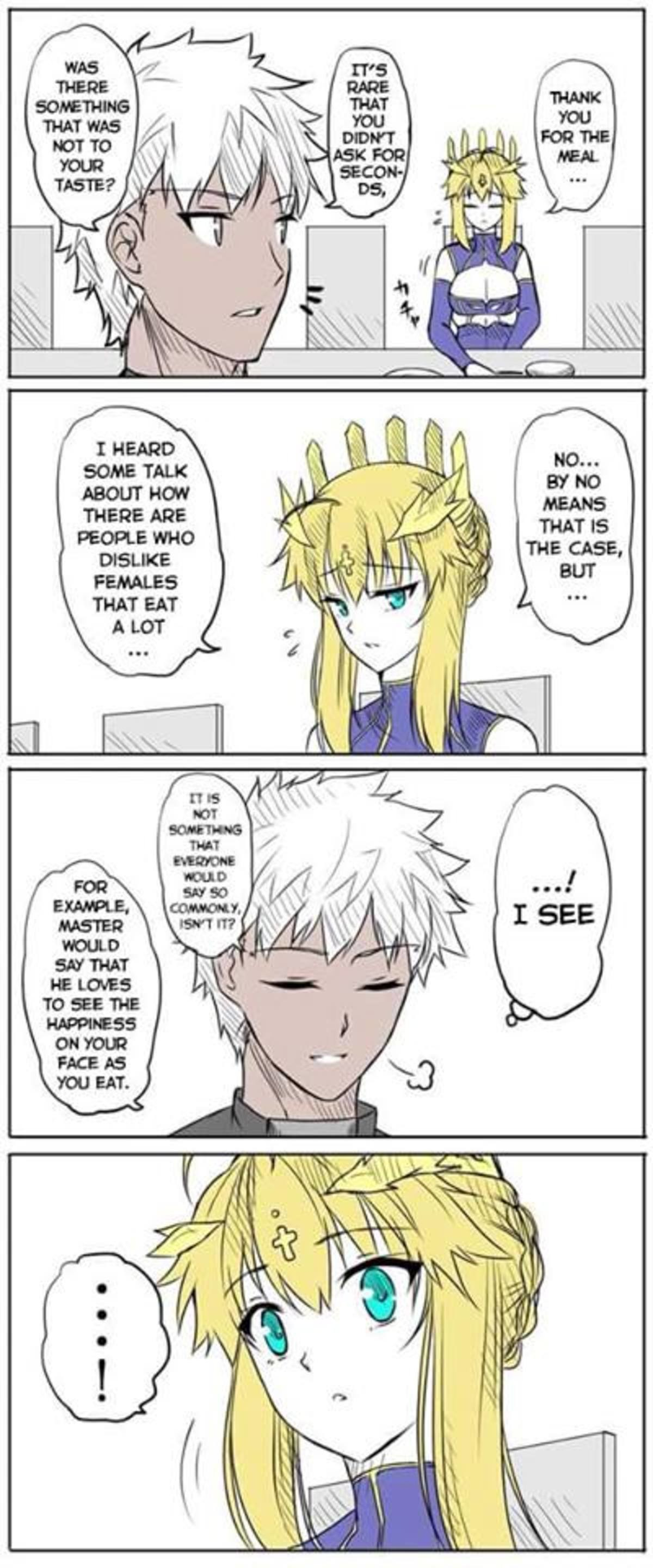 Artoria Is Conscious About Her Eating. join list: BewbDudes (2590 subs)Mention History join list:. artoria lancer is the best
