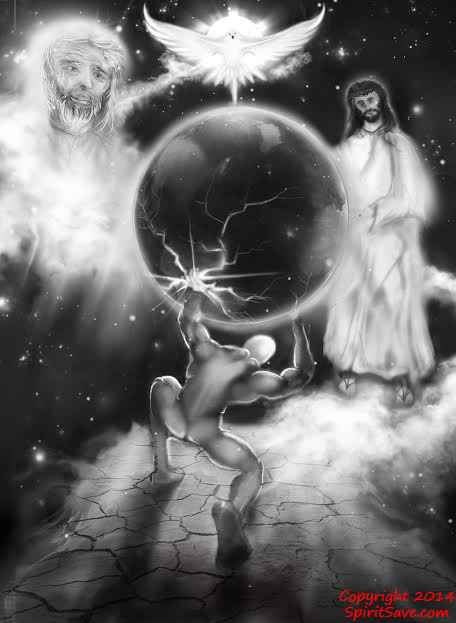 """Atlas & The Holy Trinity - The """"moment"""".. Stairways to Heaven. Original artwork by an artist friend. Atlas, Jesus, The Holy Spirit and God...in the moment of &q"""