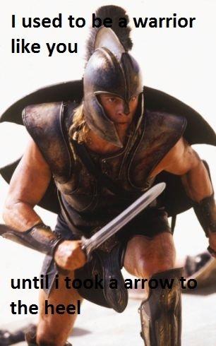 atleast it wasn't the knee. . warrior. Nice.....