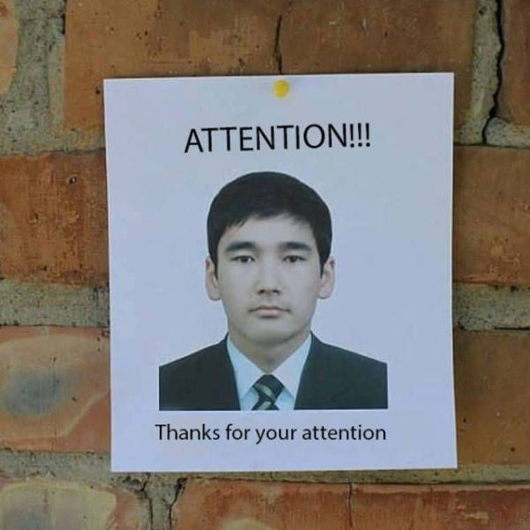 Attention!. . Thanks for your attention. pinned in concrete, not even mad