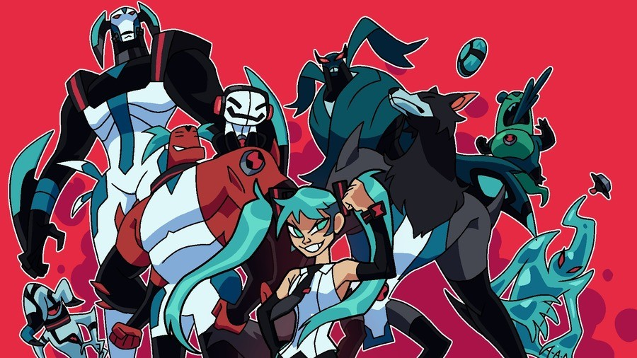 AU where Miku has the omnitrix. .. ok but the artist does know there are female tetramands right