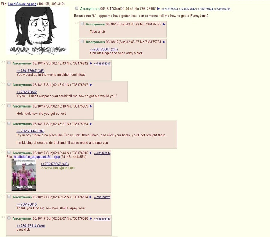 /b/ Helps Me Out. . File: Loud Sweatin _ n [IDS HES, 406x310) Excuse me ml I appear to have gotten lost, can someone tell me how to get to Funnyjunk? Ll Anonymo