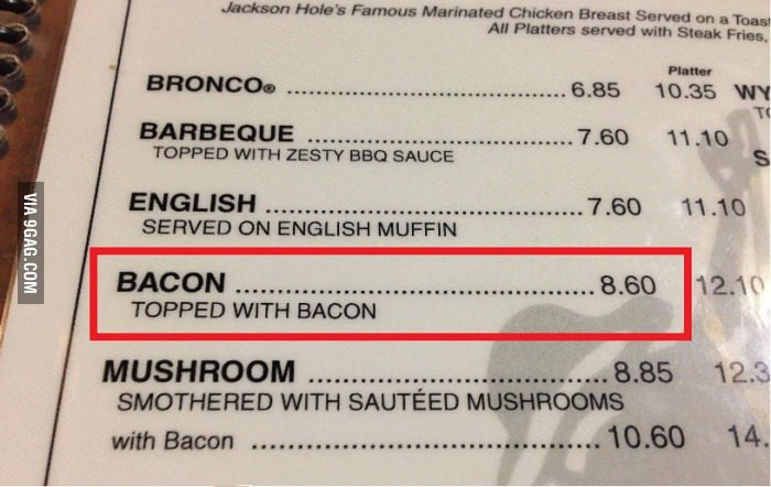 Bacon topped with BACON?. . TAPPED WITH BED SAUCE SERVED col ENGLISH MUFFIN TOPPED IMT H BACON SMOTHERED WITH SAUTEED Mt' , .l), 1:. Don't forget he mushroom smothered with mushrooms.