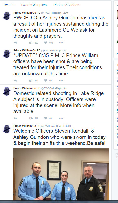 Bad Luck Cop. Officer gets shot on first shift in her career. Tweets Tweets & replies Photos & 'macs Prince William Co PD :: . on Ashley Quinton has died as a r