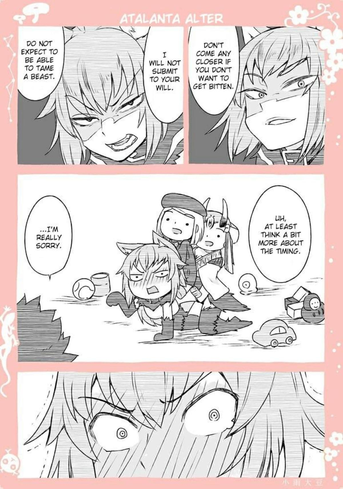 Bad Timing. Source timingbykosamedaizu/ https://twitter.com/kosamedaizu/status/990875800546111488 join list: Fate (413 subs)Mention History join list:. Atalanta is so cute when she gets flustered and embarrassed