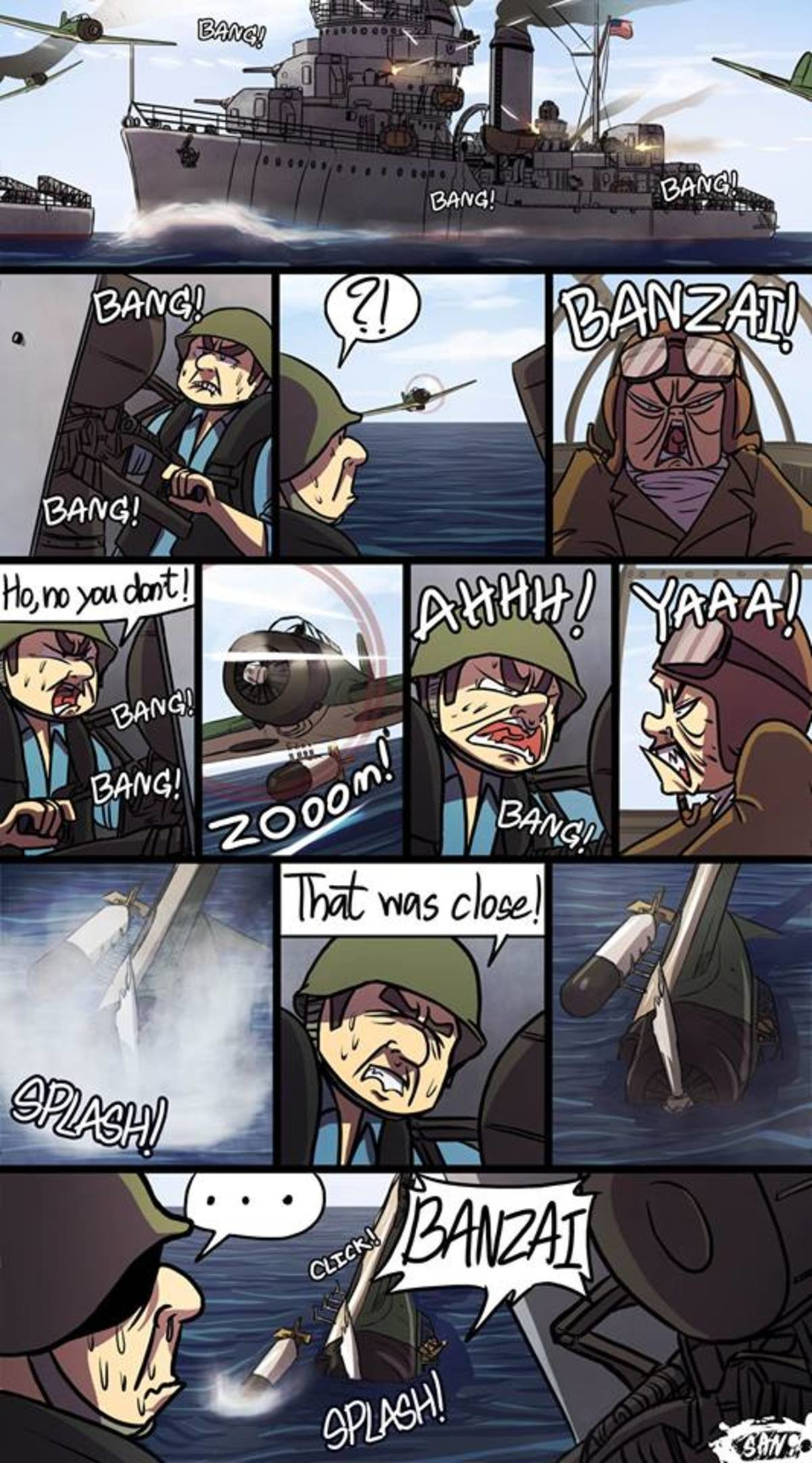 BANZAI!. join list: Combat (615 subs)Mention Clicks: 22480Msgs Sent: 95840Mention History .. >torpedo bomber and pilot surviving a crash into water with minimal damage