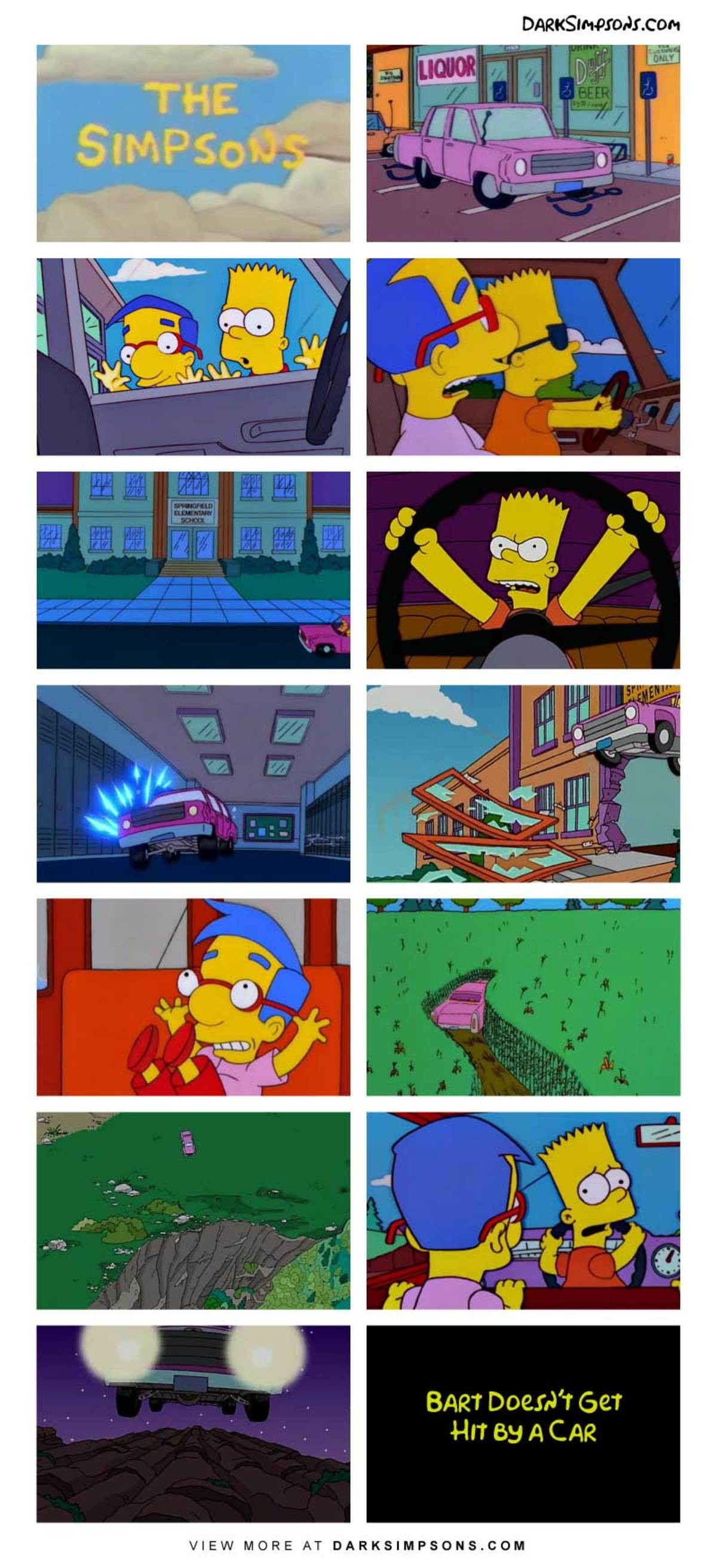Bart: We're not going to a grammar rodeo. That was just an alibi,. . BART Doeth' t Get Hm' 53 A CAR VIEW MORE AT . COM. >Bar doesn't get hit by a car Well no