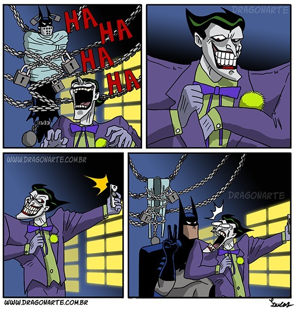 """Batman and Joker. Created by Dragonart.. I miss the times when the Joker actually was still funny and made some friggin' jokes. Nowadays it's all just """"Look how edgy I am; I'm so edgy I cut off my"""